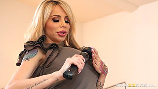 Danielle Derek fucked by a horny lover while enjoying a vibrator