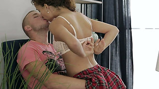 Amazing curly haired tutor blows dick and rides her student