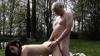 Passionate old and young fuck and oral sex outdoor