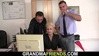 Blonde skinny granny swallos to cocks for job
