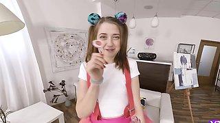 Man took skinny lassie to bedroom and filmed her sucking lollipop