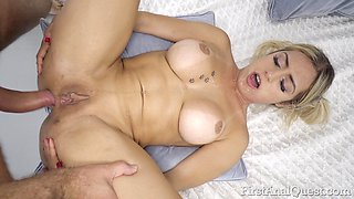 Beautiful babe Mia Linz almost begs dude for some hard anal banging