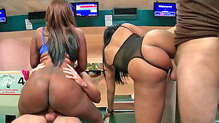 Jayla Foxx and Bella having interracial action with two fellows