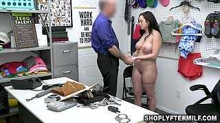 Busty babe gets to her knee sand opens wide for the officer