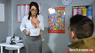 Pimply student is practicing his English with super sexy teacher Harmony Reigns