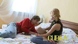 Sexy schoolgirl fucking on the bigbed