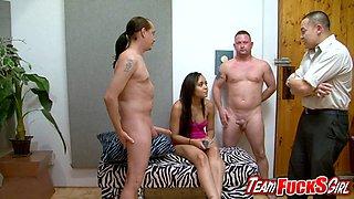 Sexy slut Jaslin Diaz sucks three cock so good