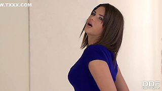Erotic babe in blue high heels, Cinthia Doll is playing like a real slut with her hard sex toy