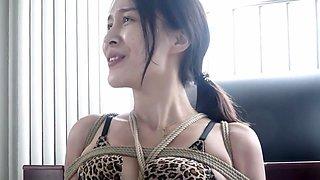 TongYa - Leopard underwear hogtied struggling