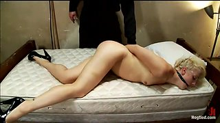 Rich blond taken, bound with tapeManhandled, stripped, exposed, made to cum like a common whore.