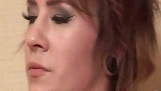 tattooed emo slut smokes a cigarette after a sex scene