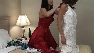 Young lesbian seducing bride