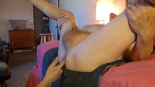 fucking my husband  strapon banging,prostate fingering him