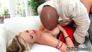 Black guy kissing and licking a blond