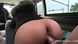 Sexy babe bent over the car chair for a fuck