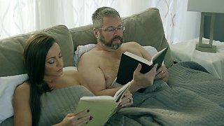 Lesbians show the older man proper oral sex