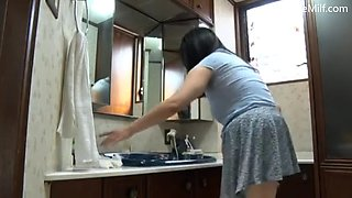 Charming japanese milf take care of her soninlaw&#39s living