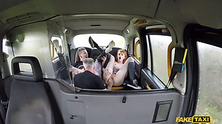 John Bishop & Azura Alii & Piggy Mouth in Extreme hardcore taxi threesome - FakeHub
