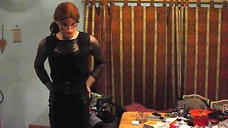 Crossdressing wearing a sexy black outfit part 1