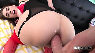 Stunning centerfold shows big ass and gets anal reamed