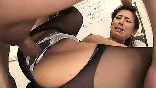 Ramu Nagatsuki rides on a big tick sausage
