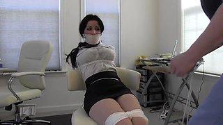 Old Boss Bounded Brunette Secretary Right In Her Office