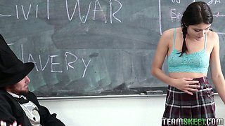 Yummy college chick Adria Rae gives her head and gets fucked on the teachers table