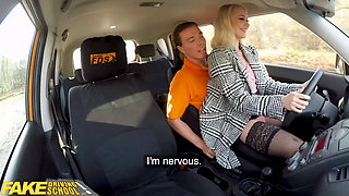 Fake Driving School Blonde Marilyn Sugar in Black Stockings Sex in Car
