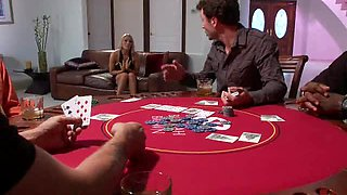 Blonde Bitch Gets Punished For Nagging These Guys While They Play Poker