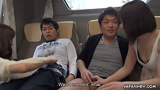 Overclouded orgy in the bus with several naughty and pretty hot Japanese girls