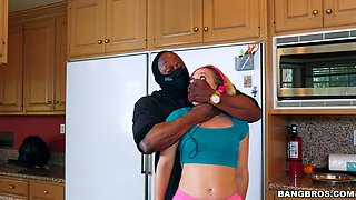 Wife gets robber's black cock in her ass