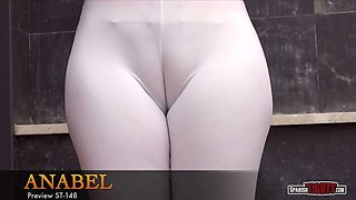 Big-butted girl plays with her fat cameltoe