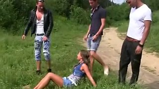 Hawt Czech Hotty and 3 Mates double penetration Outdoors