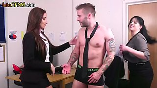 Cfnm eurobabe sucking sub in the office while being instructed