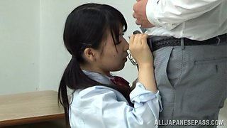 Naughty Asian teen in her school uniform gets hard fucking