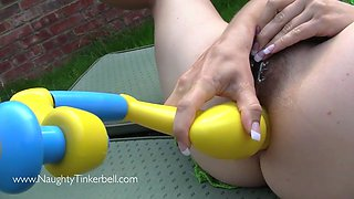 Extreme insertion as Tinkerbell gets all her holes filled by all the toys from the toy box