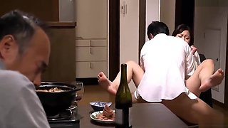Asian Japanese Milf get fucked by blackmailer in front of her husband
