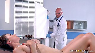 Sexy brunette patient gets demolished by her horny doctor