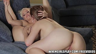 Sexy blonde wife is seduced by her horny brunette wife