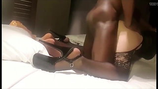 bbc fuck hard cheating slut in bed in heels