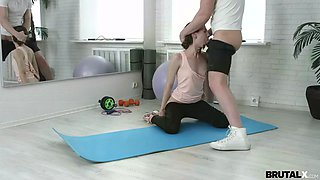 slim fitness babe stefanie is manhandled by trainer in all holes