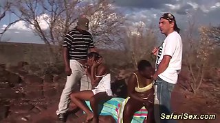 extreme wild african outdoor sex orgy with two hot chocolade deep cock sucking babes