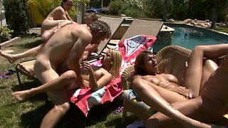 Neighborhood pool party turns into a raging orgy