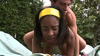 Gorgeous black woman is having some fun by the pool naked