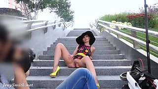 Jeny Smith -Yellow heels public naked