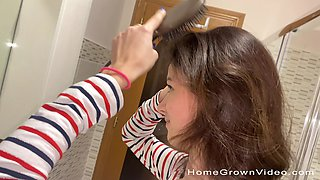 Closeup video of fucking in the bathroom with a creampie ending