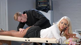 Flexible buxom MILF secretary Nicolette Shea fucked and eats cum