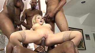 Interracially slammed beauty gets assfucked