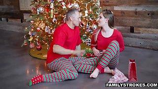 Grown up stepdaughter Niki Snow enjoys drinking milk flavored dad's sperm