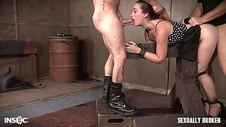 Kat Monroe gets her hair pulled while being abused with dick in throat